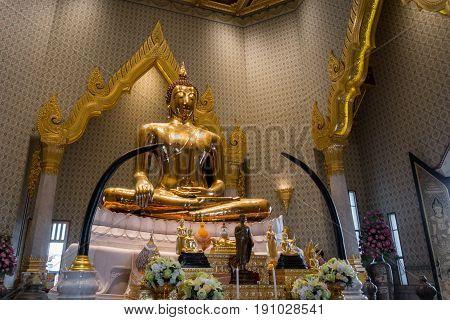 Bangkok - May 24: Golden Buddha At Temple Names Wat Traimitr And Pra Maha Mondop, Very Important And