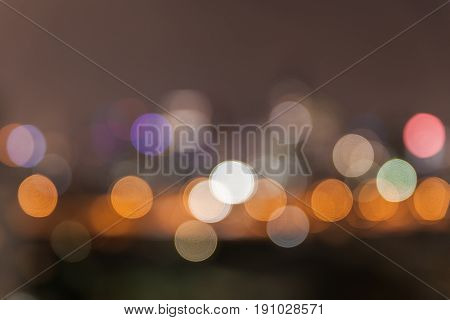Abstract Defocused Bokeh Area At Night Light Sky Background