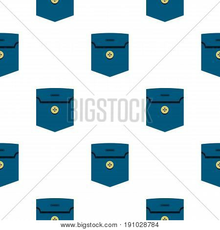 Pocket with button con. Flat illustration of pocket with button vector pattern seamless flat style for web vector illustration