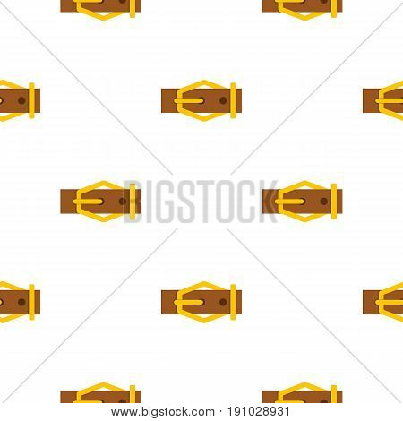 Brown leather belt pattern seamless flat style for web vector illustration