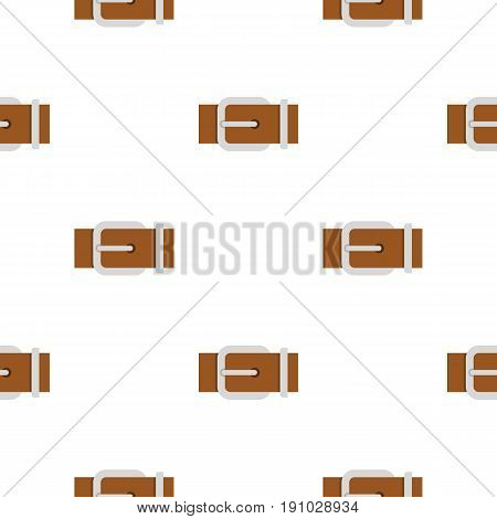 Brown elegant leather belt pattern seamless flat style for web vector illustration