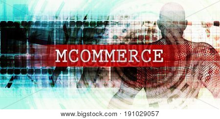 Mcommerce Sector with Industrial Tech Concept Art 3d Illustration Render