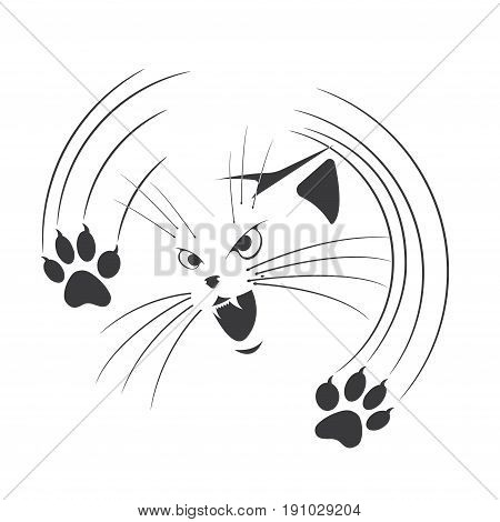 An illustration depicting an aggressive cat with claws released
