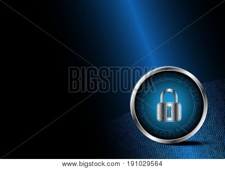 Technology Digital Future Abstract Cyber Security Lock Circle Binary Background