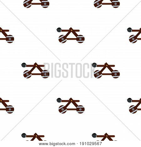 Medieval siege catapult pattern seamless flat style for web vector illustration