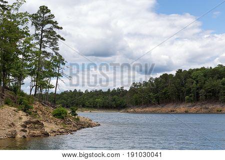 The shoreline of Broken Bow Lake in Oklahoma.