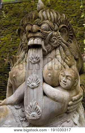 Traditional Statue At Tirta Empul Hindu Balinese Temple With Holy Spring Water In Bali, Indonesia