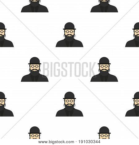 Jewish rabbi pattern seamless flat style for web vector illustration