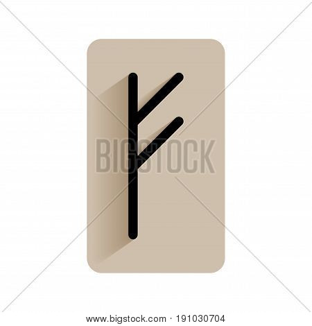 Fehu. Runic alphabet and letters. Flat icon on white background for divination, prediction. Vector