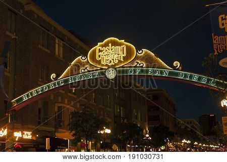 SAN DIEGO, CA - MAY 05 : Sign at the entrance to the Gaslamp Quarter in downtown San Diego,California on May 05, 2014.Gaslamp is the historic heart of San Diego.