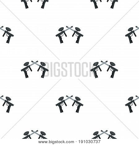 Crossed paintball guns pattern seamless flat style for web vector illustration