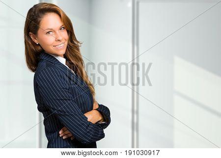 Blonde businesswoman portrait