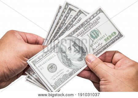 Hand of a man holding a fanned fistful of 100 dollar  isolated on  white background