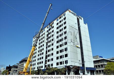 Christchurch New Zealand - October 29 2011: Copthorne Hotel Demolition starts after devastating Februrary 2011 Earthquake.