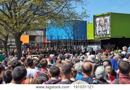 Christchurch New Zealand - October 29 2017: Opening Ceremony for the Heart Start campaign to ressurect the centre of Christchurch retail sector after devastating February 2011 Earthquake. Many famous pople are attending at centre rear.