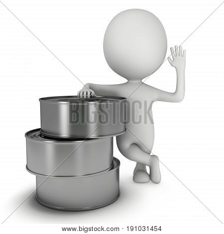 Man stand near aluminium can. 3D render of metal canned food isolated on white.