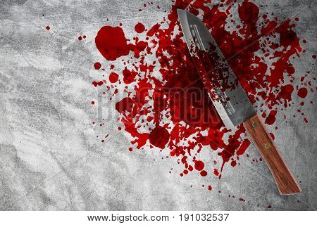 Knife With Grunge Of Blood On The Concrete Floor, Halloween Bloody Murder Or Death Crime Killer Viol