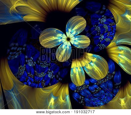 Computer generated fractal artwork with smal blue and large yellow flowers