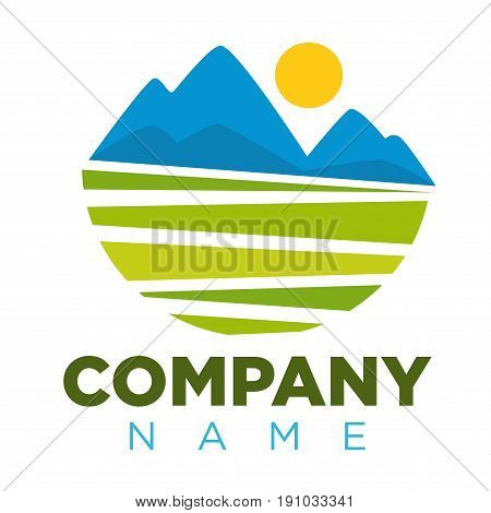 Company logotype with place for name and colorful landscape image. Vector illustration in flat design of badge with graphic green field, blue mountains for establishment and with space for its name