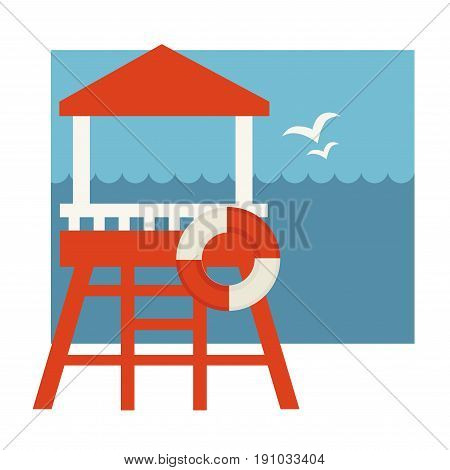 Lifeguard post with lifebuoy in white and red colors near blue sea with flying seagulls vector graphic illustration in flat design. Special working place for people saving human lives at seaside