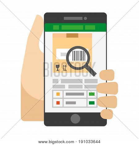 Useful smartphone app for barcode scanning. Open application on devices screen that scans parcel and with options and settings at bottom in human hand isolated vector illustration on white background.