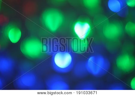 Beautiful heart bokeh background, Blinking heart shaped lights , Concept  Valentine day, love