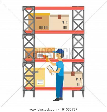 Worker in uniform puts special bar codes on carton boxes standing on high metal rack with shelves. Vector colorful illustration in flat design of working process in warehouse or storehouse place