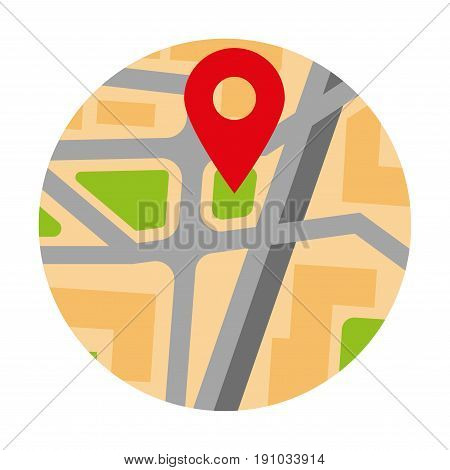 Colorful map in round shape with red pin location marker vector poster in flat design on white. Close up illustration of graphic city streets routine with special symbol indicating destination