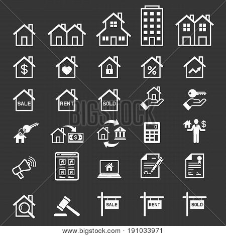 Real estate icons set . Vector illustrations.