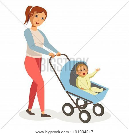 Mother with ponytail, cheerful face, sweater with blue sleeves and pink jeans walks with baby boy in yellow romper suit inside small blue pram isolated vector illustration on white background.