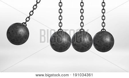 3d rendering of a wrecking ball swinging on white background beside three still hanging balls on white background. Destructive force. Odd one out. Building and demolition.