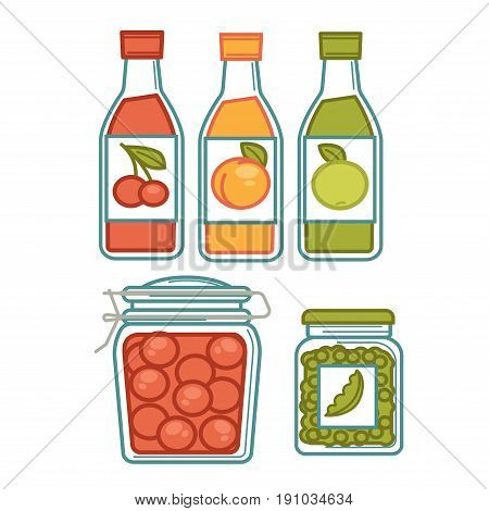 Homemade juice and preserves in jars colorful vector poster in flat design. Three domestic glass containers with fruit compote and pickles of small tomatoes and peas with and without labels.