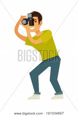 Man photographer in green T-shirt, jeans and white sneakers takes photo with professional reflex camera isolated vector illustration on white background. Creative occupation and interesting hobby.
