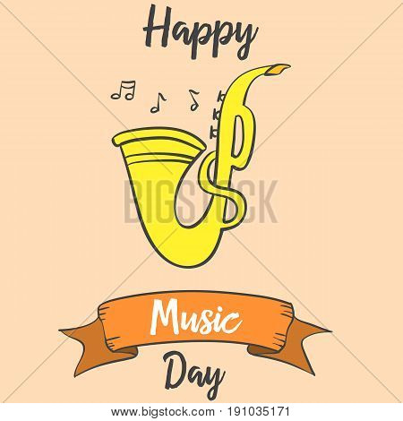 Greeting card music day vector art collection stock