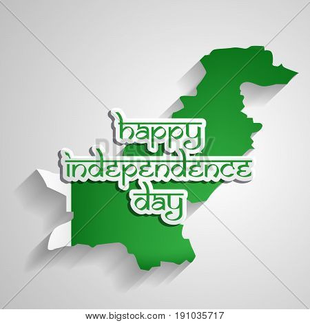 illustration of Happy Independence day text on Pakistan map background on the occasion of Pakistan independence day