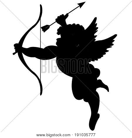 Silhouette of the boy of the amur with onion and dart on white background