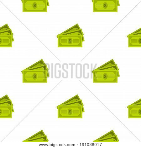 Three dollar bills pattern seamless flat style for web vector illustration