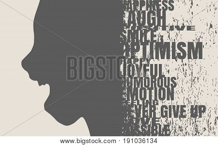 Face side view. Elegant silhouette of a female head. Vector Illustration. Monochrome gamma. Surprised beautiful woman smiling with open mouth. Emotions relative tags cloud. Grunge distress texture