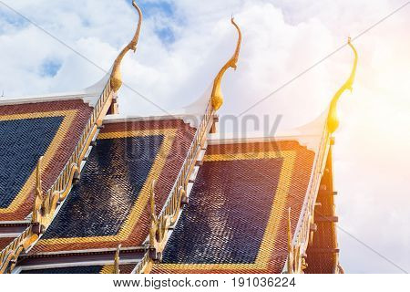 Thai Temple Roof Of Wat Phra Kaew Or The Temple Of The Emerald Buddha Or Wat Phra Sri Rattana Satsad