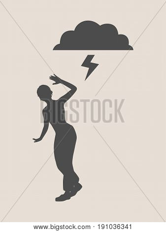 A young woman holding her hand in front to show stop gesture. Stop Domestic Violence Creative Social Design Concept. Vector illustration.