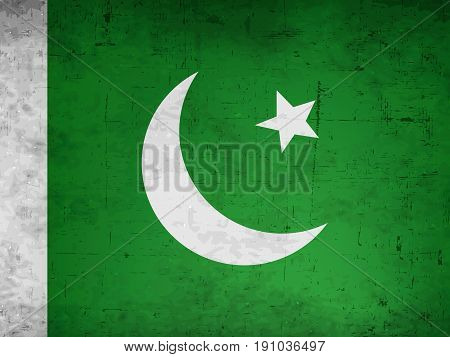 illustration of Pakistan Flag background on the occasion of  Pakistan independence day