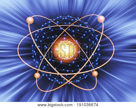 Nucleus Of Atom Nuclear Explode Ray Radiation Light Science Abstract Blur Background.
