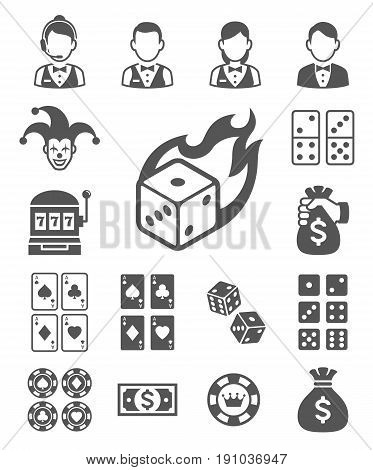 Casino icons set . Vector illustrations .