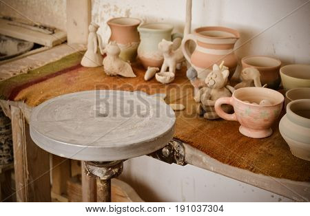 An empty circle where the potter molds product close-up. Creative studio potter. Workplace wizard Crock pottery