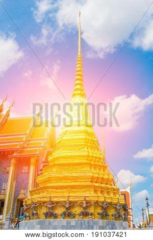Beautiful Thai Temple, Wat Phra Kaew Or The Temple Of The Emerald Buddha Or Wat Phra Sri Rattana Sat