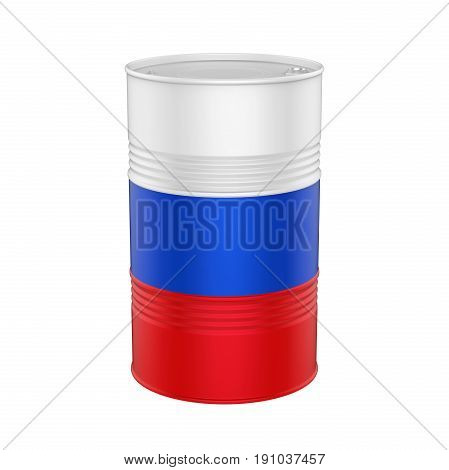 Russian Flag Oil Barrel isolated on white background. 3D render