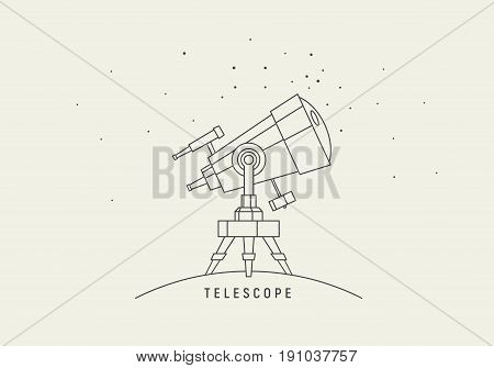 Telescope. Line art vector. Eps8 RGB Global colors