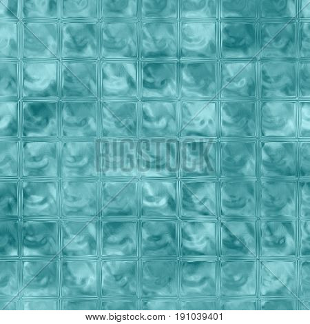 Aqua blue glass background raster illustration. Teal blocks square pattern tile. Liquid surface tile for bathroom wall. Swimming pool bottom. Ice cubes wallpaper or backdrop. Christmas card background