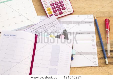 document monthly statement expense of credit card on office desk