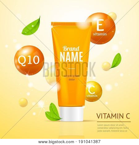 Creame Tube Moisturizing Cosmetic Products Ad Poster Flyer Card for Skin Care. Vector illustration